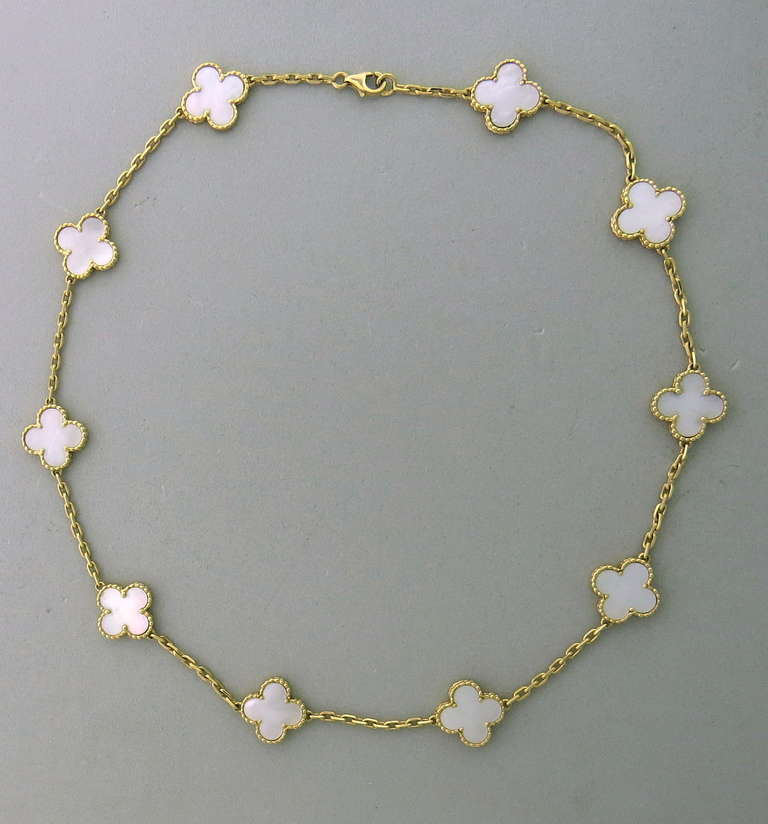 Van Cleef And Arpels Mother Of Pearl Necklace: Van Cleef Arpels Alhambra Gold Mother Of Pearl 10 Motifs