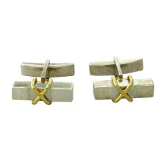Tiffany & Co Sterling Silver and Gold X Cufflinks