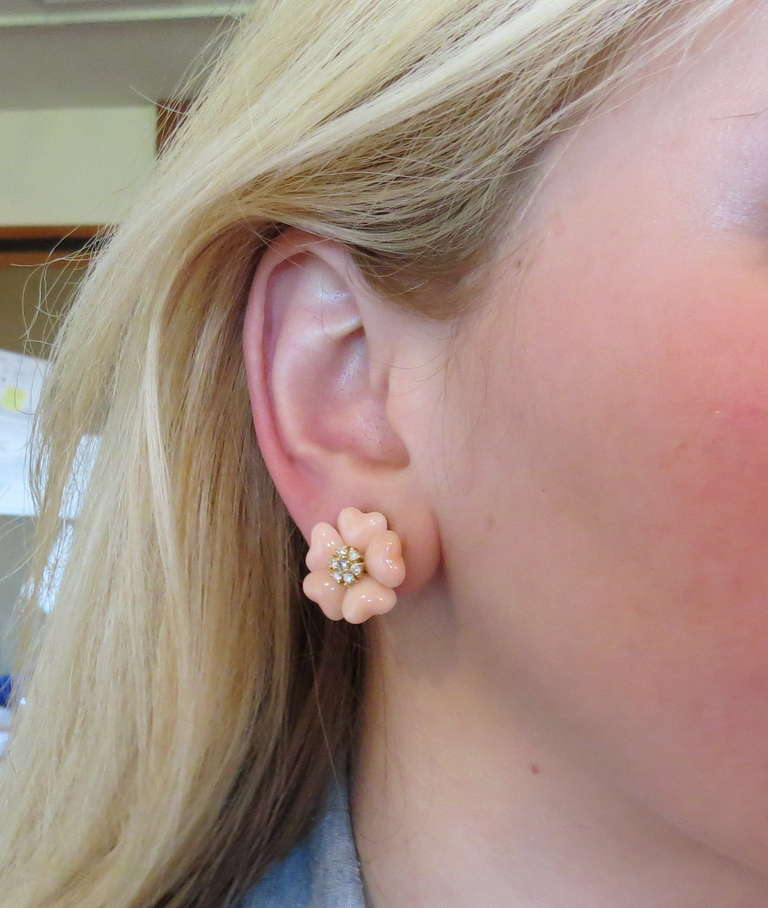 Adorable Angel Skin Coral Diamond Gold Flower Earrings 5