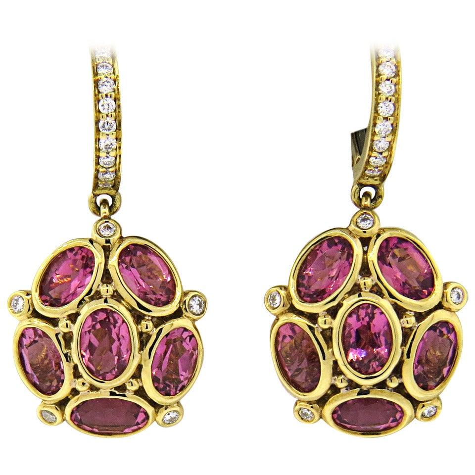 Temple St. Clair Nirvana Pink Tourmaline Diamond Gold Cluster Earrings