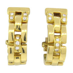 Classic Cartier Panthere Maillon Diamond Gold Earrings