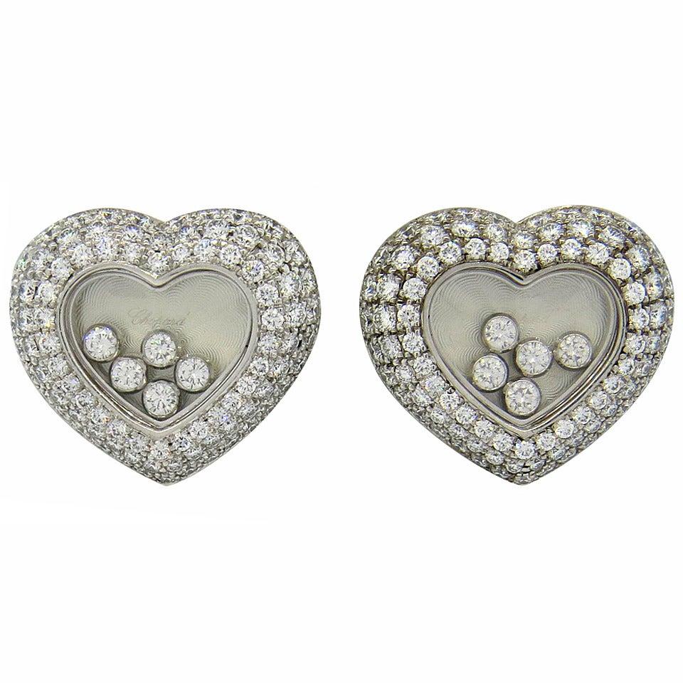 Diamond heart earrings - Chopard Floating Diamond Heart Gold Earrings 1