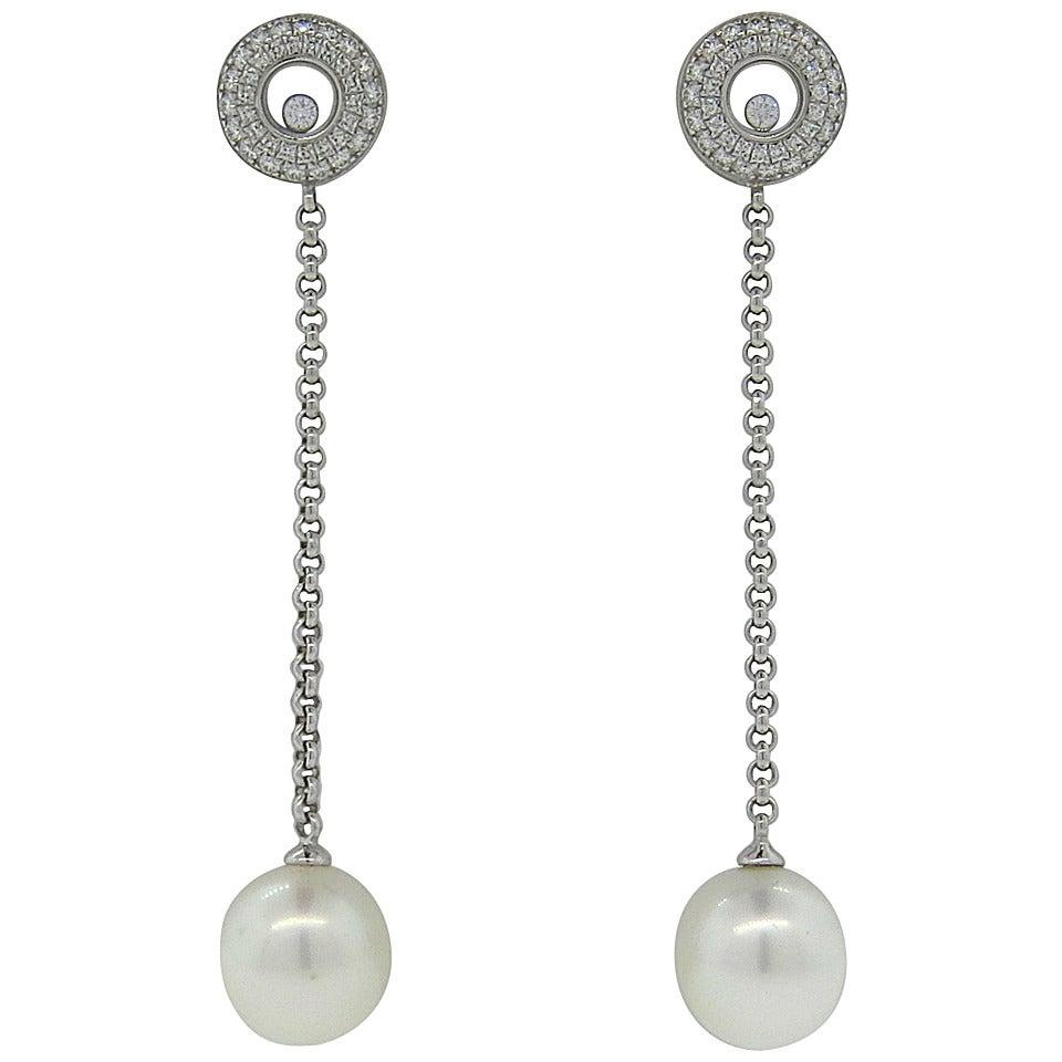Chopard Floating Diamond Gold Pearl Long Drop Earrings 1