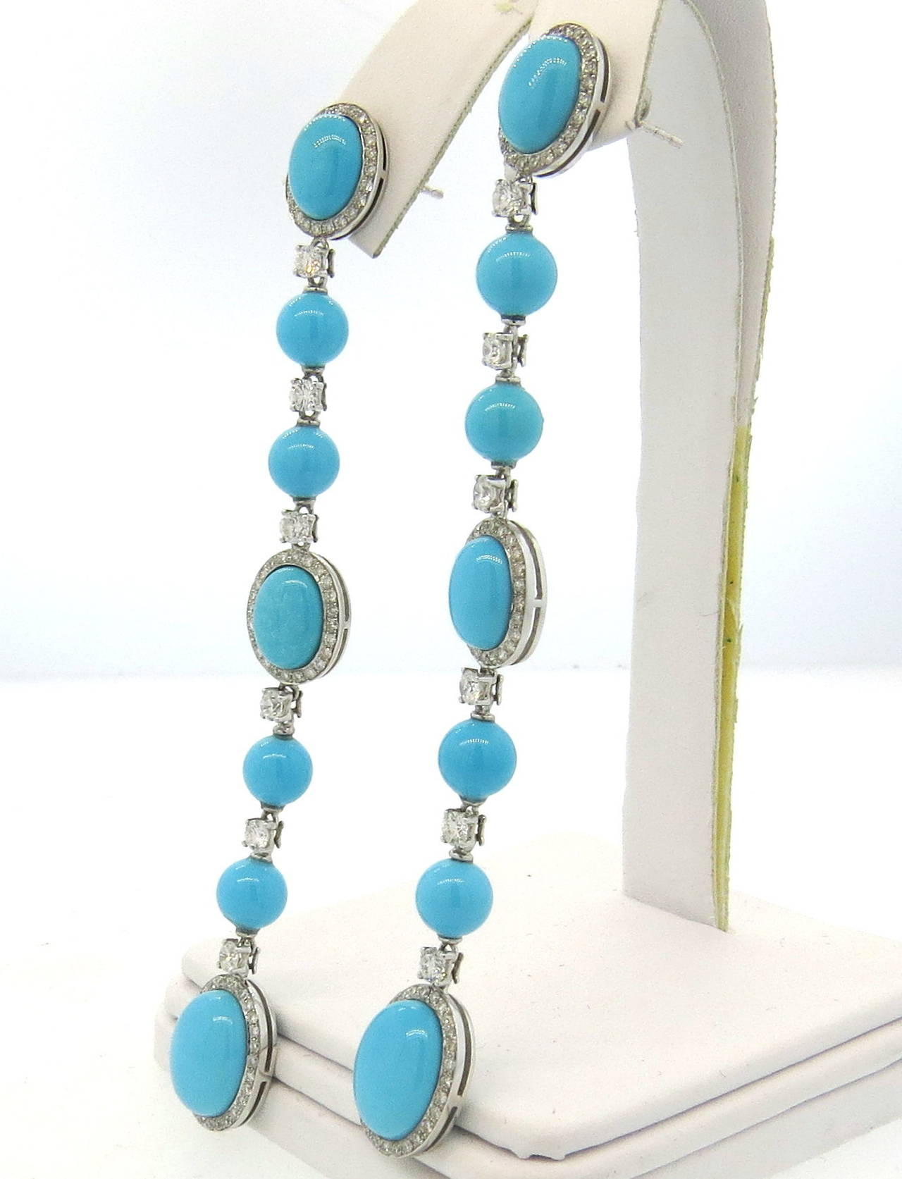 18k White Gold Long Drop Earrings Set With Turquoise Gemstones Decorated Roximately 1 80