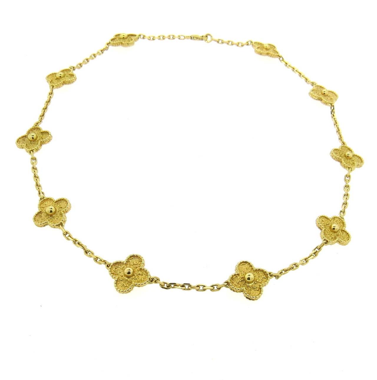 Clover Necklace Van Cleef: Van Cleef And Arpels Vintage Alhambra Gold Ten Motif