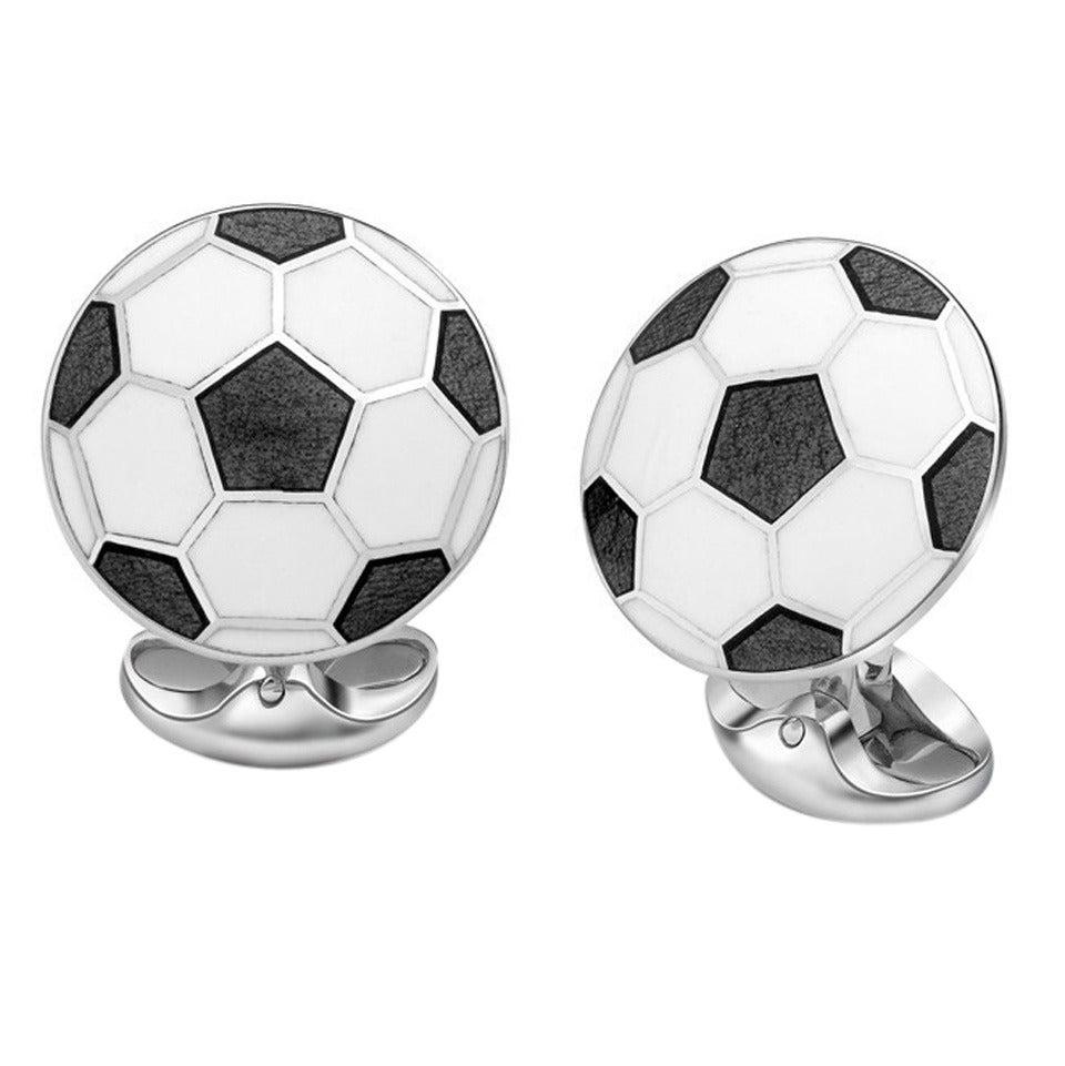 Deakin & Francis Football Soccer Enamel Sterling Cufflinks