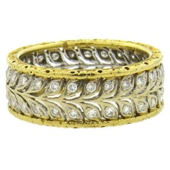 Buccellati Diamond Gold Eternity Band Ring