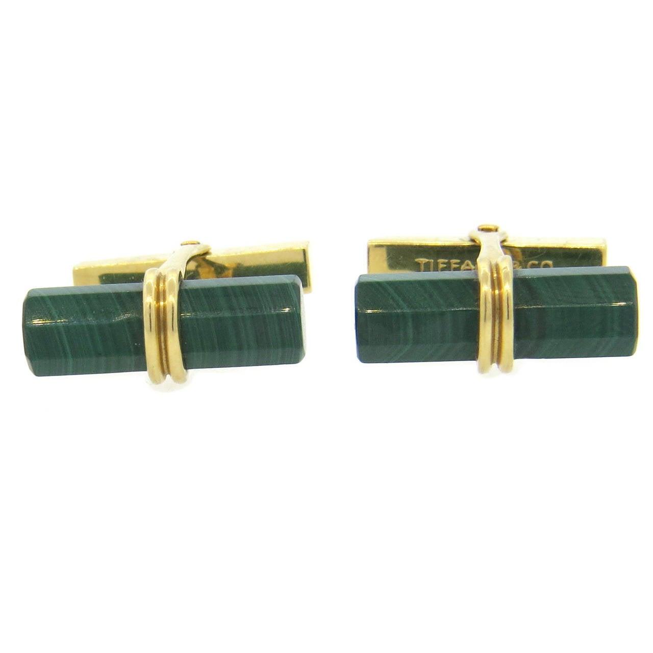 Tiffany & Co Malachite Gold Cufflinks