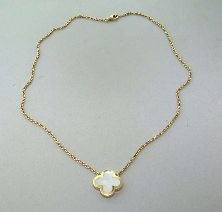 Van Cleef And Arpels Mother Of Pearl Necklace: Van Cleef Arpels Alhambra Mother Of Pearl Gold Pendant