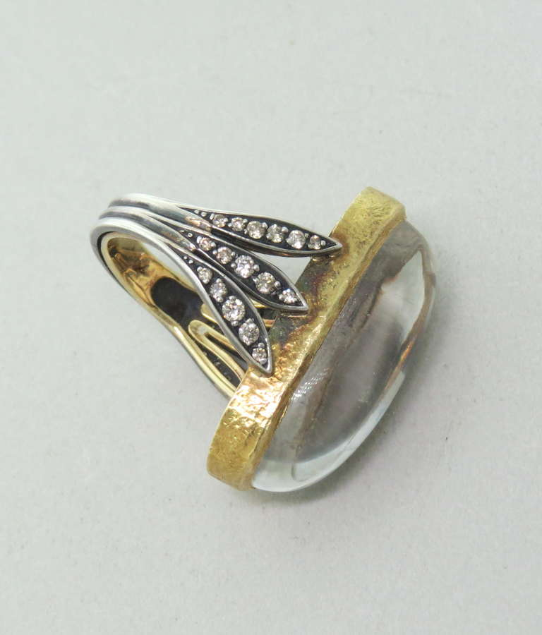 Engagement Rings Sterns: H Stern Gold Silver Rock Crystal Diamond Ring At 1stdibs