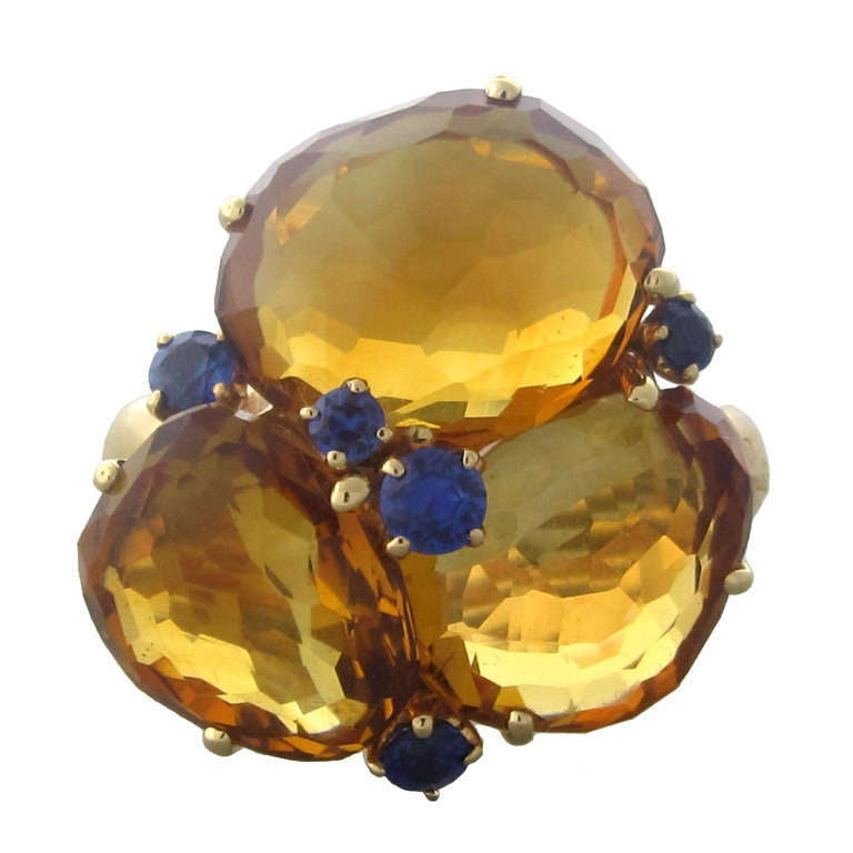 Pomellato Bahia Gold Madeira Citrine Sapphire Ring For Sale
