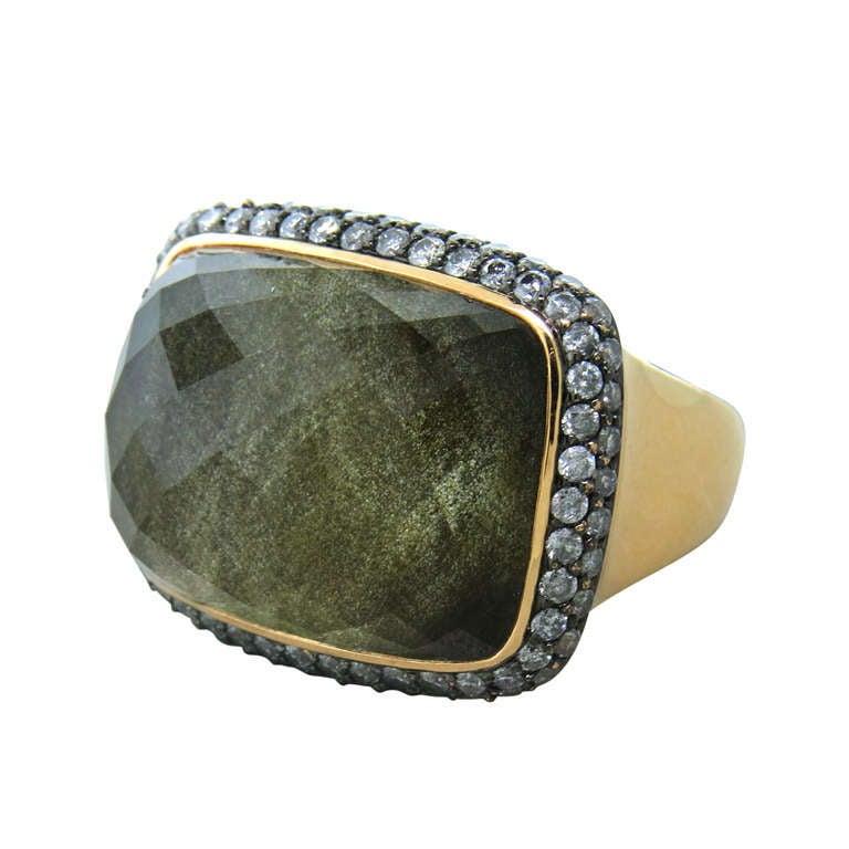 Gold Quartz Diamond Cocktail Ring