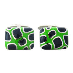 Roberto Coin Gold Blue Green Enamel Cufflinks