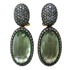 Modern Green Quartz Diamond Gold Drop Earrings