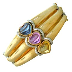 Bulgari Gold Multi Color Sapphire Bangle Bracelet