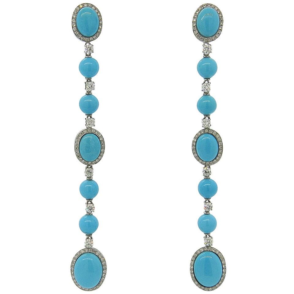 Beautiful Turquoise Diamond Gold Long Drop Earrings 1