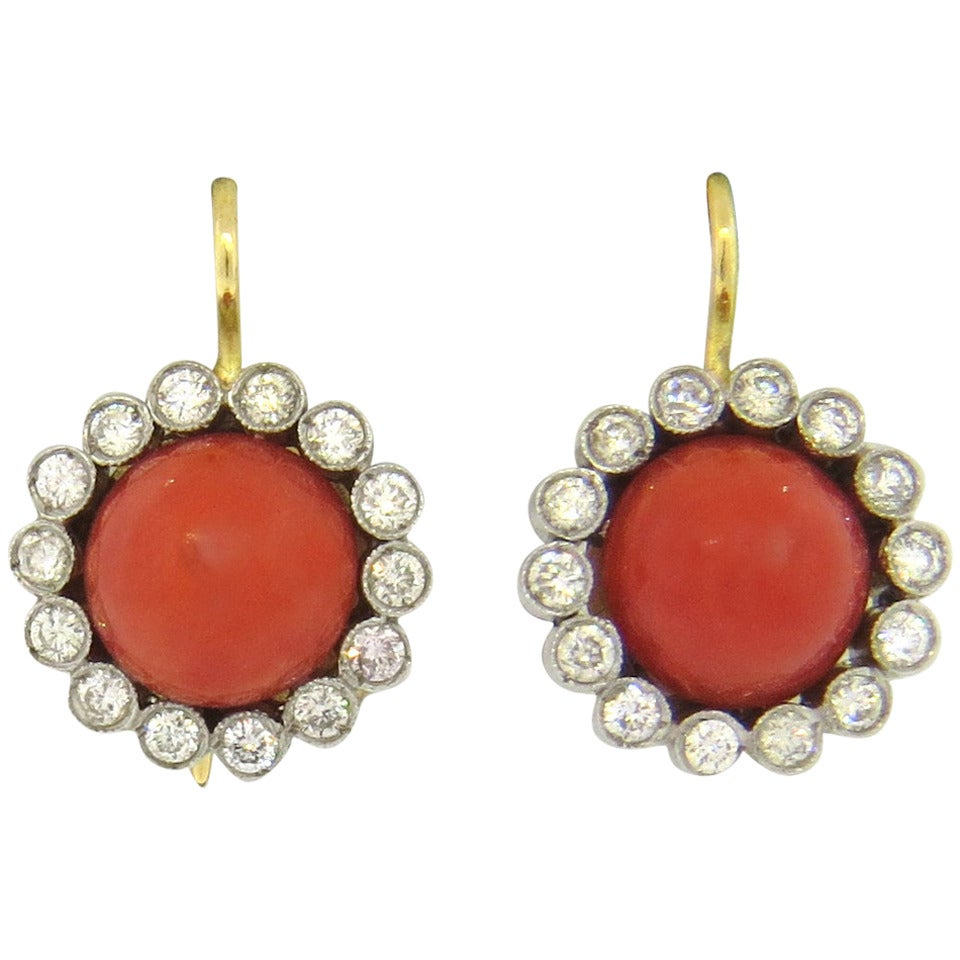 renee lewis coral gold earrings at 1stdibs