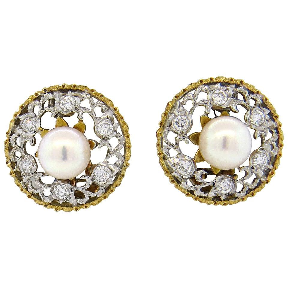Buccellati Pearl Diamond Gold Ear Clips