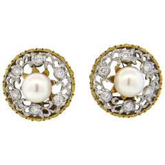 Buccellati Pearl Diamond Gold Earrings