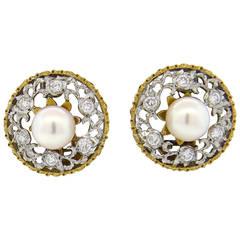 Buccellati Pearl Diamond Gold Earrings