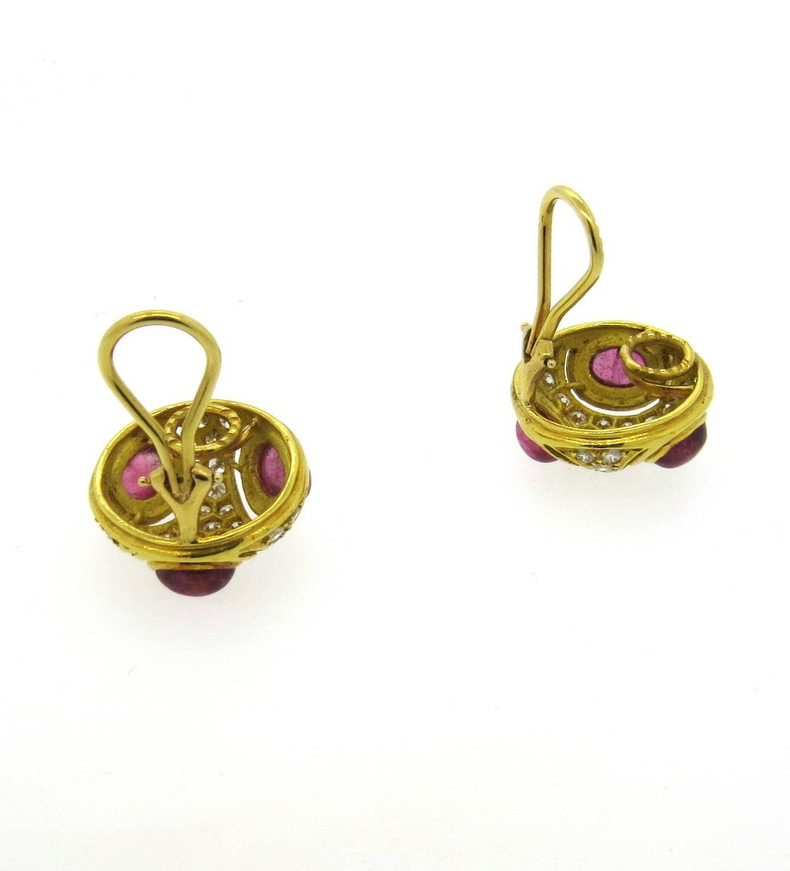 pink tourmaline gold earrings at 1stdibs
