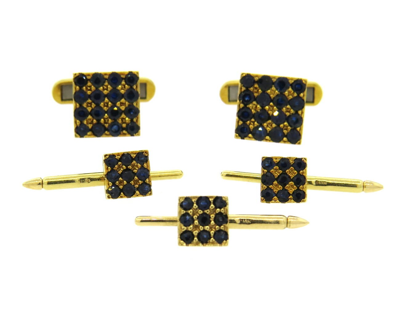 1960s Sapphire Gold Cufflinks Stud Dress Set 3