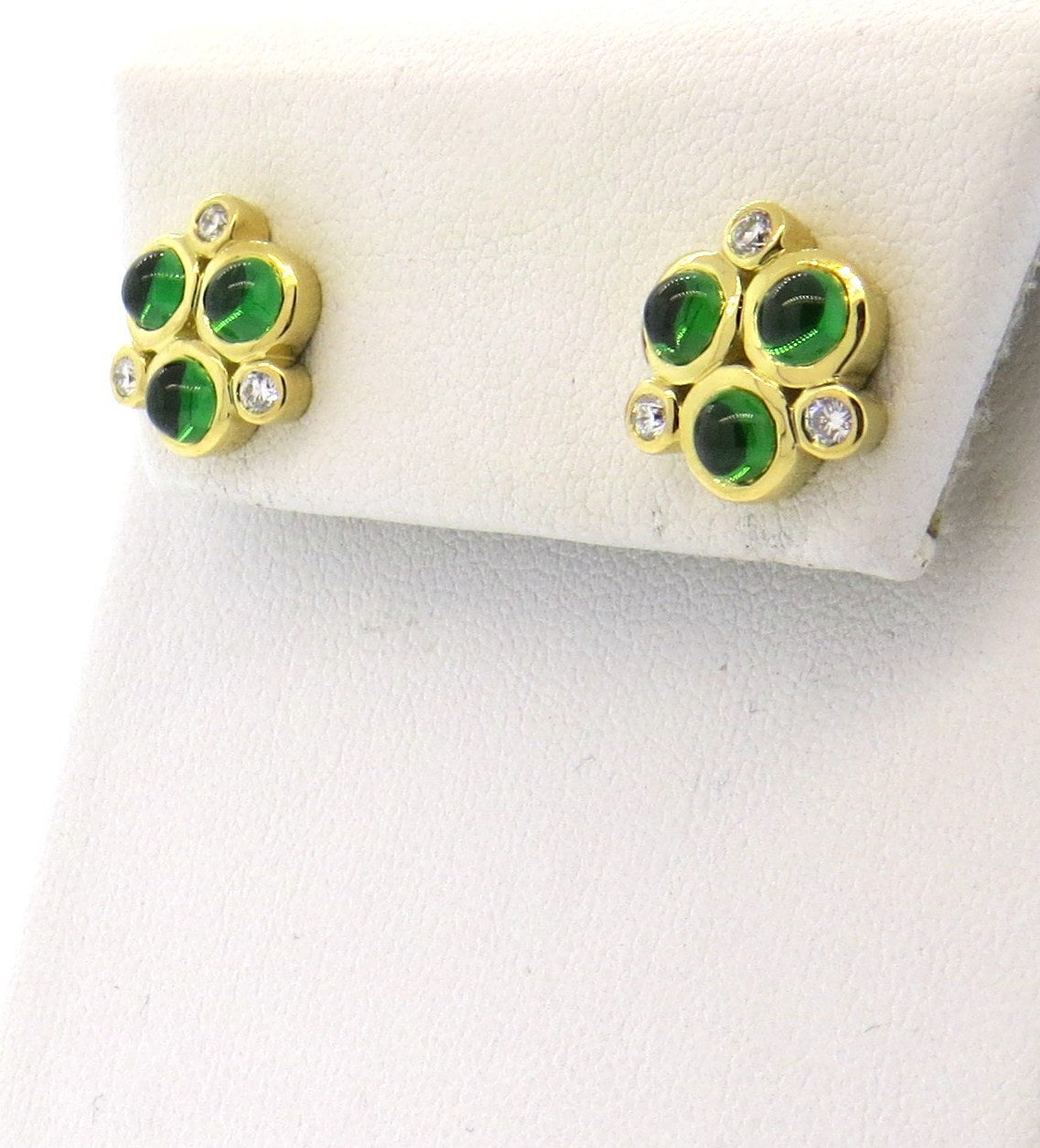 Temple St. Clair Trio Tsavorite Gold Earrings 2