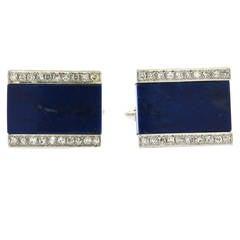 Diamond Lapis Gold Cufflinks
