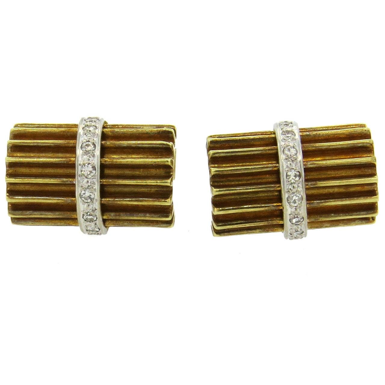 Mid Century Diamond Gold Cufflinks