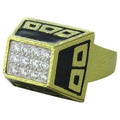 Iconic David Webb Diamond Enamel Gold Ring