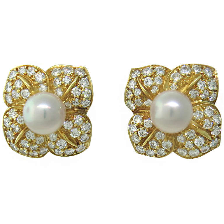 mikimoto gold pearl floral earrings at 1stdibs