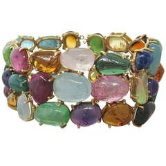 1960s Gold Gem Set Bracelet
