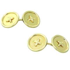 Tiffany & Co Yellow Gold Button Cufflinks