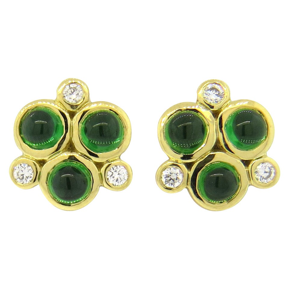 Temple St. Clair Trio Tsavorite Gold Earrings 1