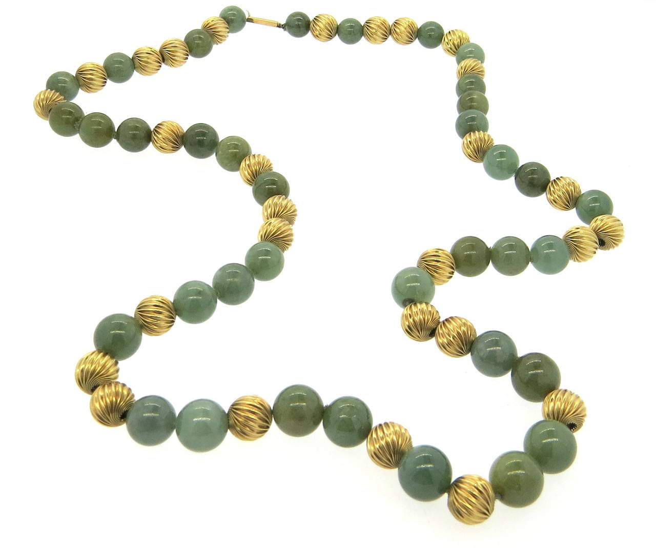 Gumps jade bead gold necklace at 1stdibs for Pictures of jade jewelry