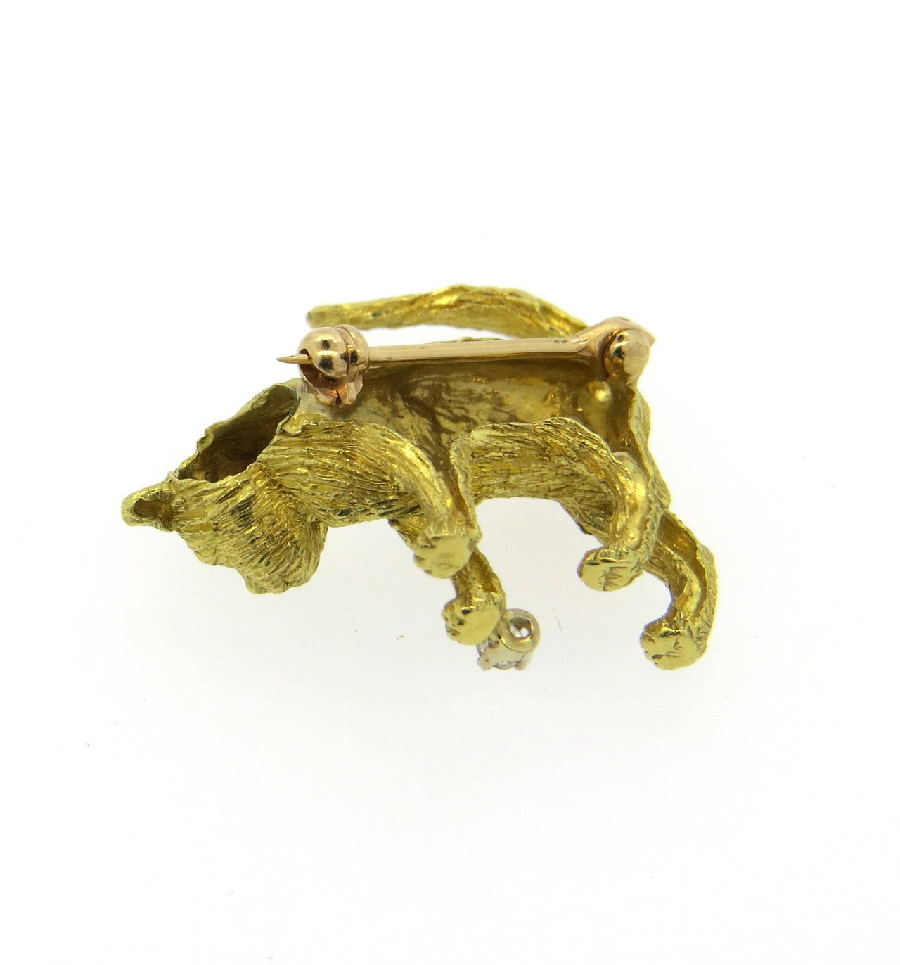 Whimsical Brushed Gold Diamond Cat Brooch 3