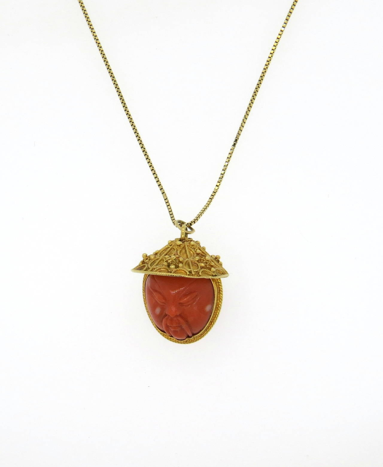 carved coral gold asian pendant necklace for sale at 1stdibs