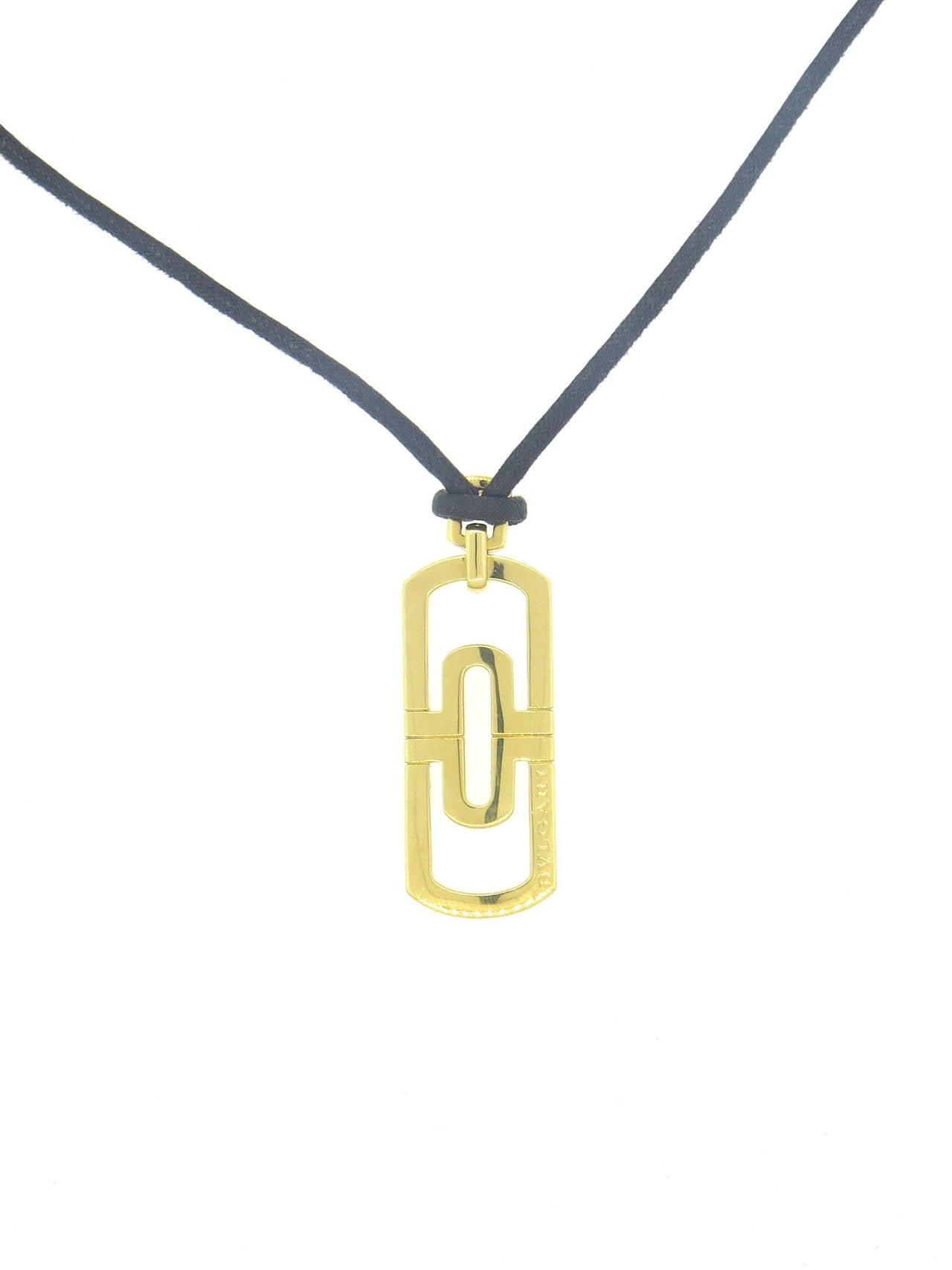 bulgari parentesi gold pendant cord necklace at 1stdibs