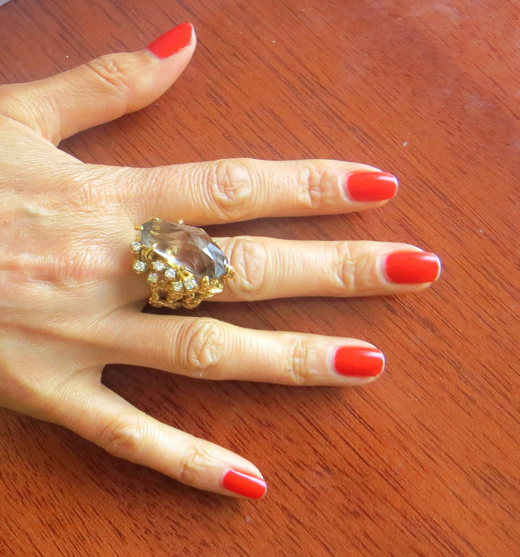 Arthur King Smokey Topaz Diamond Gold Free Form RIng at 1stdibs