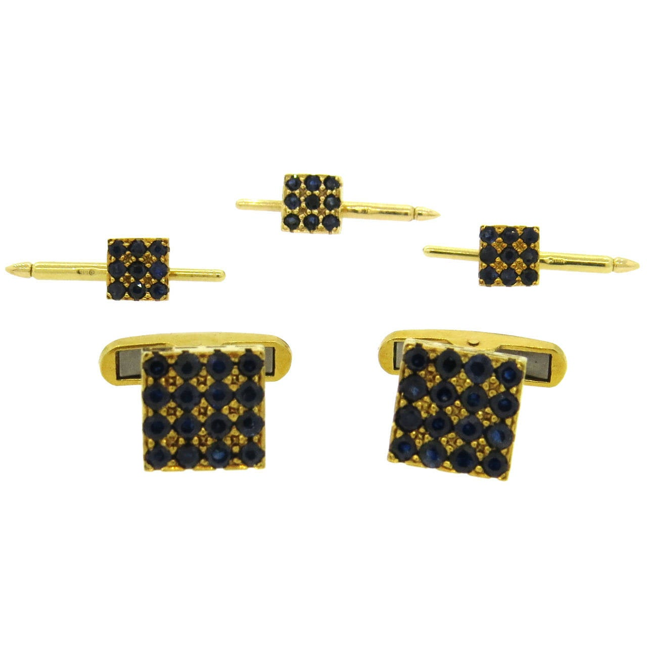 1960s Sapphire Gold Cufflinks Stud Dress Set 1
