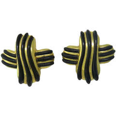 1980s Angela Cummings Gold Black Jade Earrings