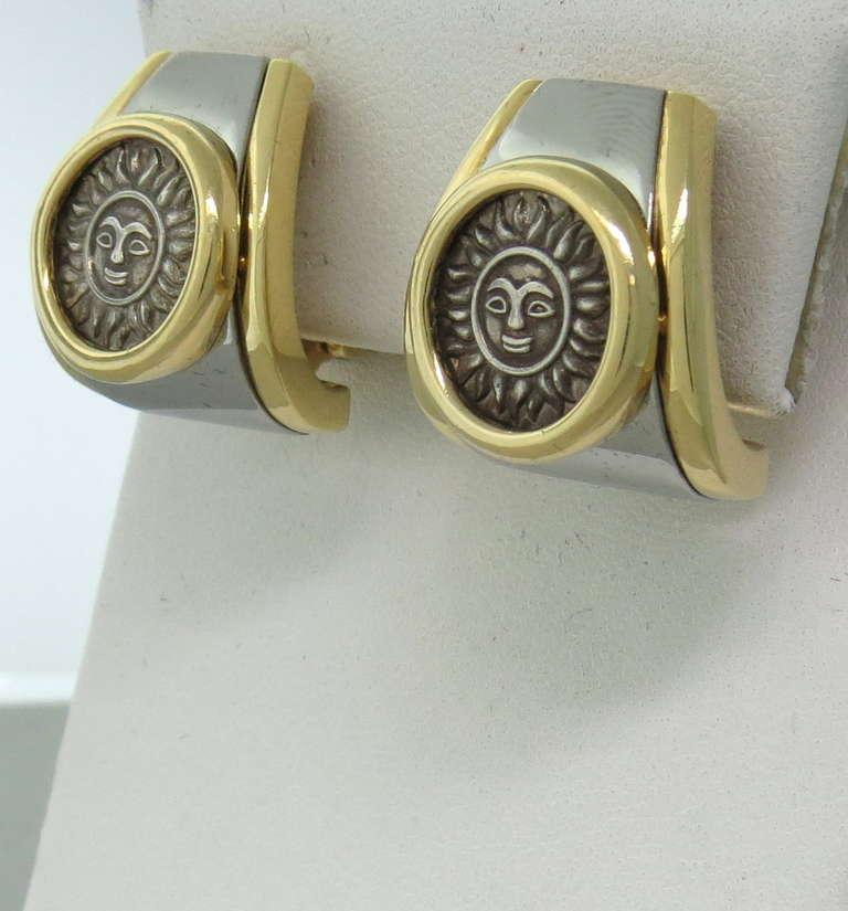 Marina B Gold Silver Sun Coin Earrings 2