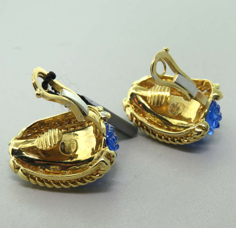 Sabbadini Gold Carved Crystal Earrings In Excellent Condition For Sale In Lahaska, PA