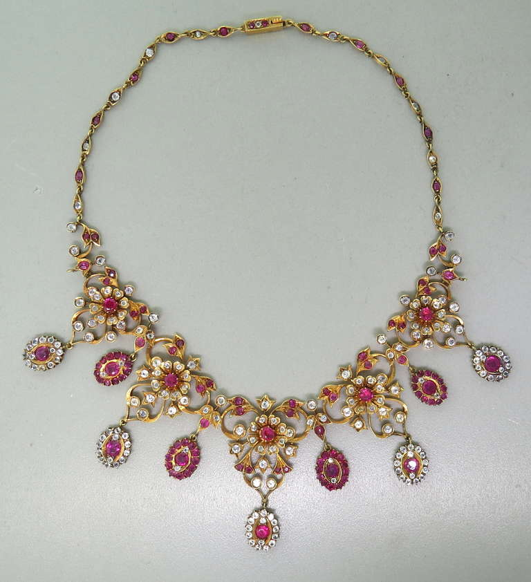 Antique Gold Natural Burmese Ruby Sapphire Necklace 2