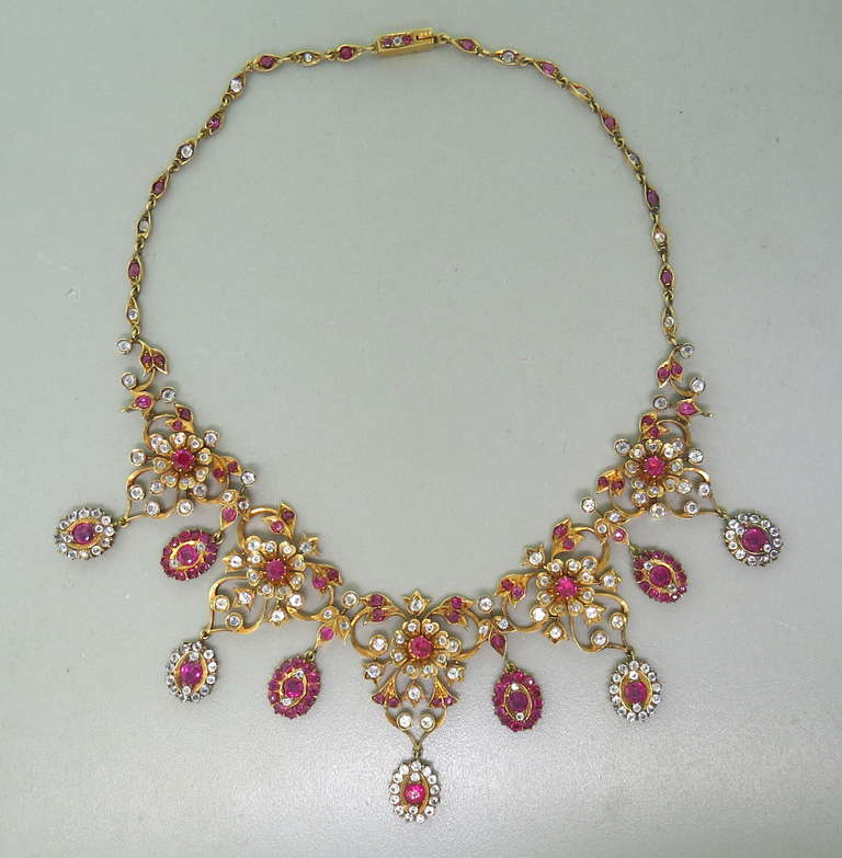 Antique Gold Natural Burmese Ruby Sapphire Necklace 3