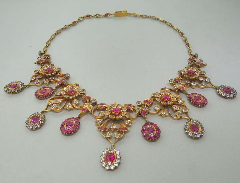Antique Gold Natural Burmese Ruby Sapphire Necklace 4