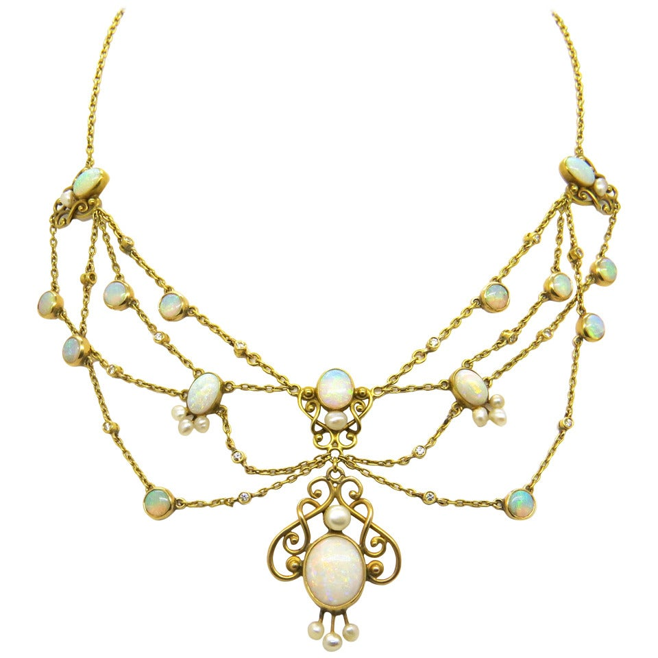 Antique Opal Pearl Diamond Gold Festoon Necklace At 1stdibs
