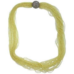 Stunning Seed Pearl Multi Strand Necklace with Diamond Gold Clasp