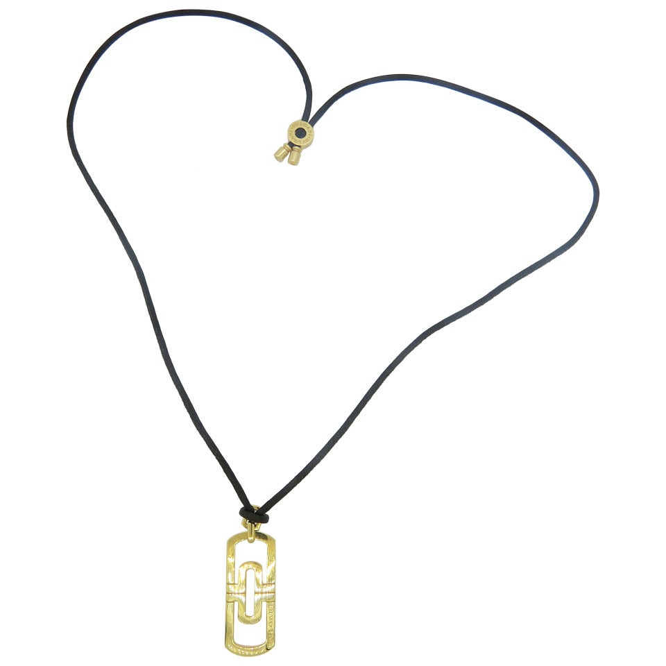 bulgari parentesi gold pendant cord necklace at 1stdibs