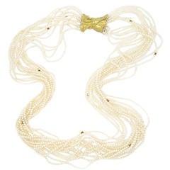 Pedro Boregaard Pearl Gold Multistrand Necklace